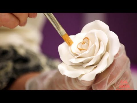 How to Decorate a New Year's Gold Sugar Rose | Cake Tutorial