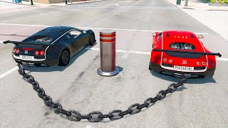 Cars vs Bollards - Chained Cars - BeamNG.Drive