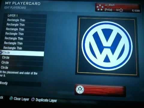 Black Ops Playercard Tutorial 5 VW Logo