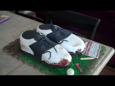 Check out this amazing cake made to look like golf shoes!