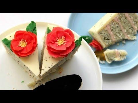 How to Pipe Poppy Flowers  - Lemon Poppyseed and Raspberry Cake Recipe