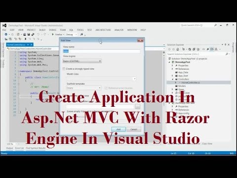 Create An Application In Asp Net MVC With Razor Engine In Visual Studio