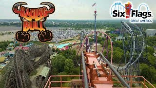 2019 Raging Bull Roller Coaster On Ride Front Seat HD POV Six Flags Great America