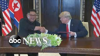 Trump, Kim Jong Un sign unspecified document at historic summit