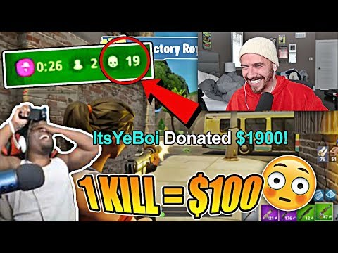 Donating $100 For Every Kill to Random Fortnite Streamers on YouTube!!