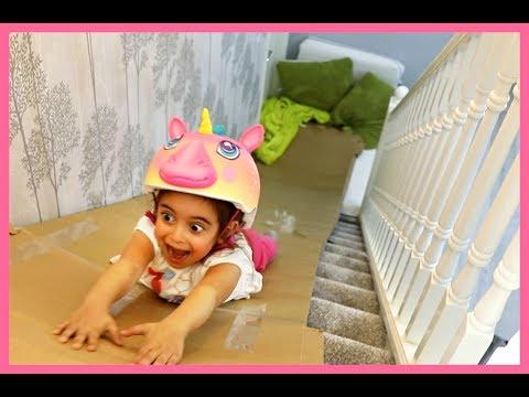 Long Slide in the House-Sledding Down Staircase Box Slide