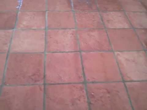 After Cleaning and Sealing this Exterior Saltillo Tile Flooring in Arizona.