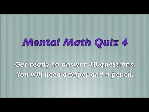 Mental Math Quiz 4 - Grades 2 and 3 Math - Numeracy Skills - Sparkles Online School