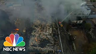 Drone Footage Shows Burning Buildings In Minneapolis After George Floyd Protests | NBC News NOW