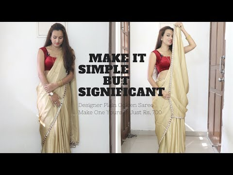 Plain Golden Designer Saree at Home In Rs. 750 | New Year Special