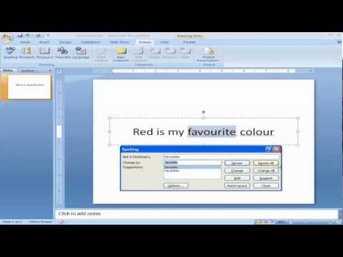 Spelling Check in PowerPoint 2007