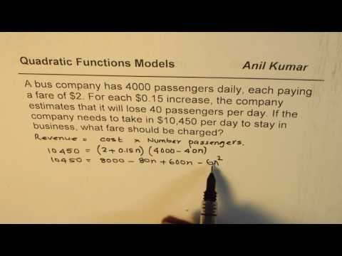 What bus fare should be charged for revenue of 10450 Quadratic Applications