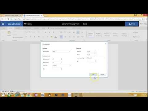 Microsoft Word Online- MLA format