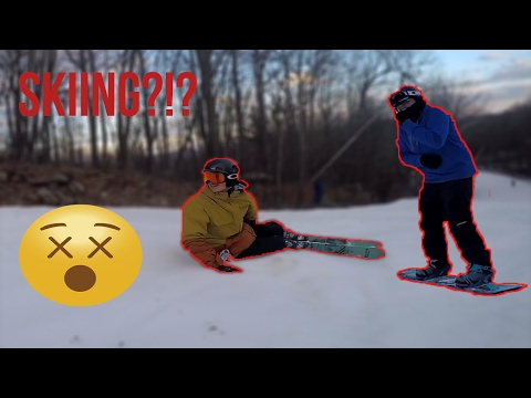 SNOWBOARDERS TRY SKIING FOR THE FIRST TIME!