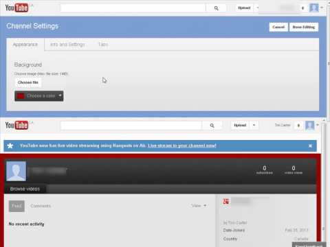 Customize YouTube channel design