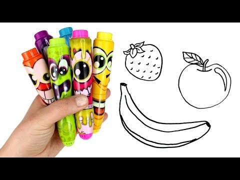 Drawing Fruits with Scentos Markers & Surprise Toys Squishy Blind Bag Smooshy Mushy Moana Surprise