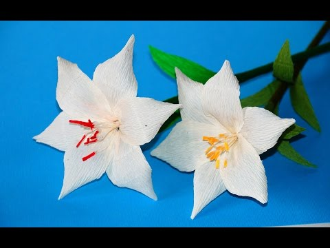 Easy Flowers making ideas. How to Make LILY Tissue Paper. Crepe paper flower making / Julia DIY