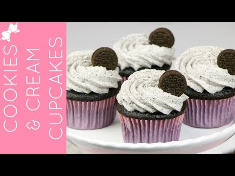 How To Make Cookies and Cream Chocolate Oreo Cupcakes // Lindsay Ann Bakes
