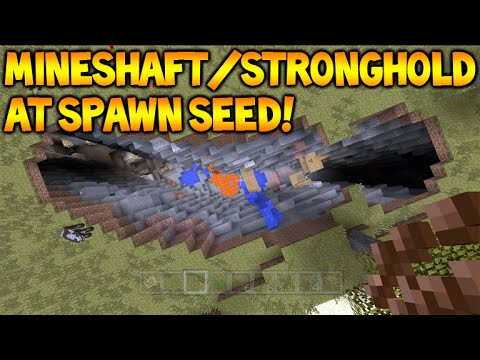 STRONGHOLD MINESHAFT AT SPAWN!! Minecraft Console TU35 Seed - Villages & MORE!