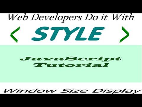 Window size tool javascript