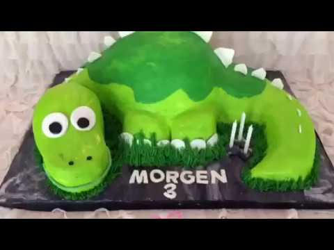 How to Make a Carved Dinosaur Cake! Time Lapse Video
