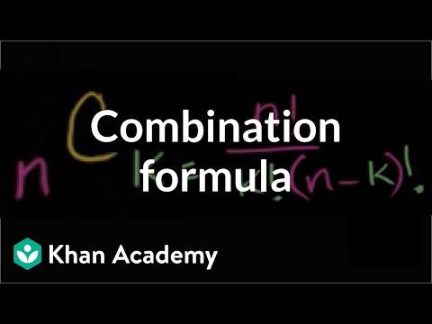Combination formula | Probability and combinatorics | Probability and Statistics | Khan Academy
