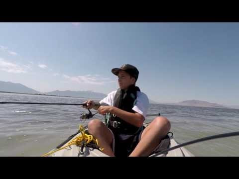 Kayak fishing on Utah Lake