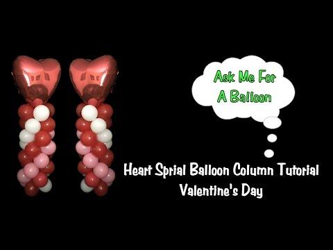Heart Spiral Balloon Column Tutorial - Valentine's Day