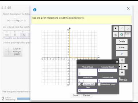 Graphing a Logarithmic Function on MathXL