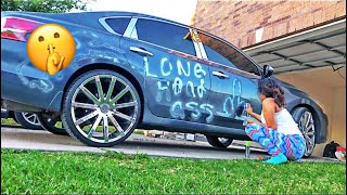 SPRAY PAINTING BOYFRIEND CAR PRANK !!!!!!!!!