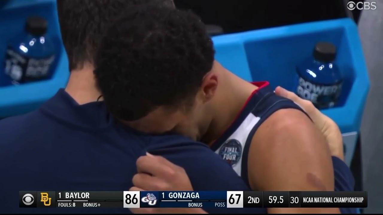 Jalen Suggs EMOTIONAL after losing National championship game vs Baylor.