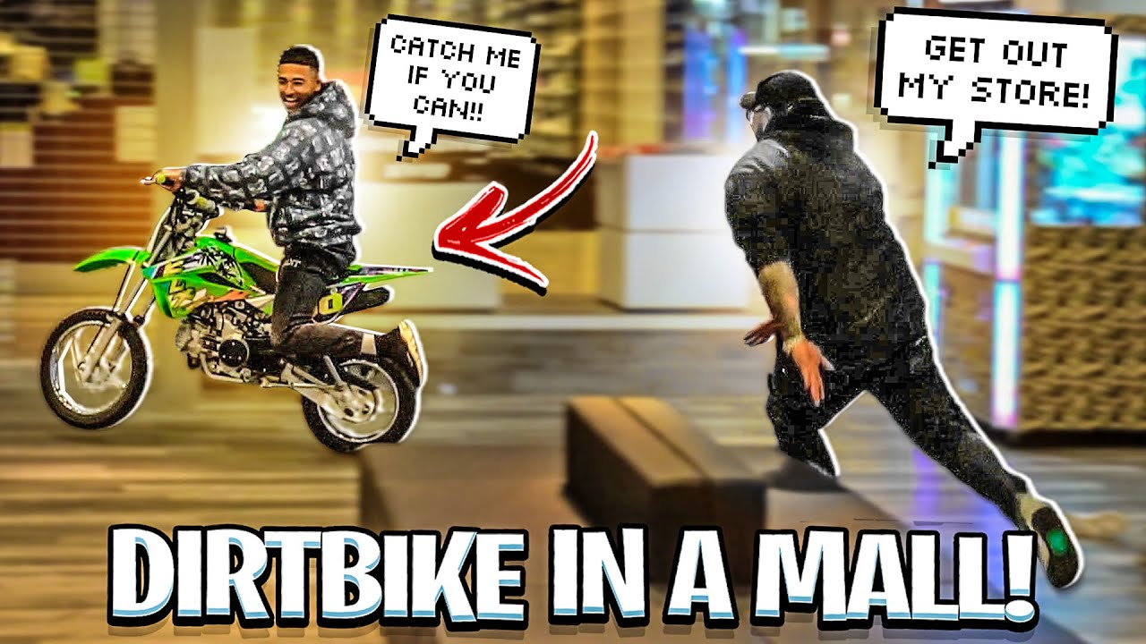 TAKING MY DIRTBIKE INTO A MALL AND DOING WHEELIES ! ( OWNER GETS MAD !)   BRAAP VLOGS