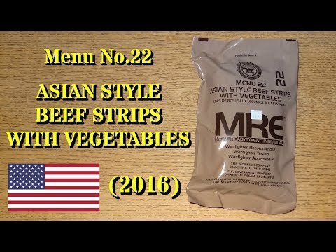 MRE Review: Menu No.22 Asian Style Beef Strips with Vegetables (2016)