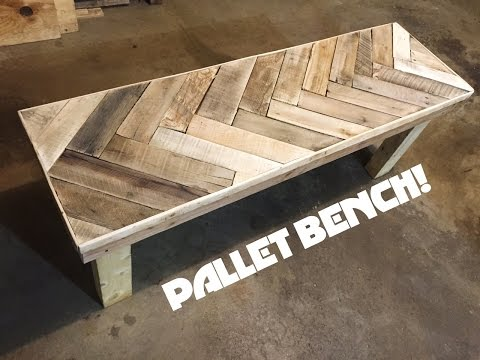 DIY Herring Bone Patterned Pallet Bench!