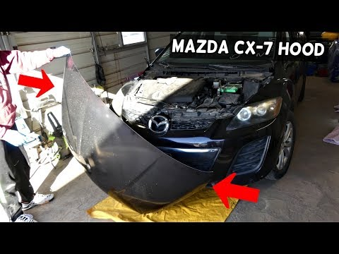 MAZDA CX-7  HOW TO REMOVE OR REPLACE HOOD BONNET. CX7
