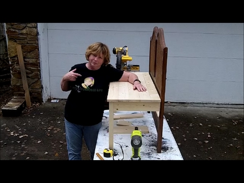 How to make a headboard bench from a twin bed  by Gail Wilson MyRepurposedLife com