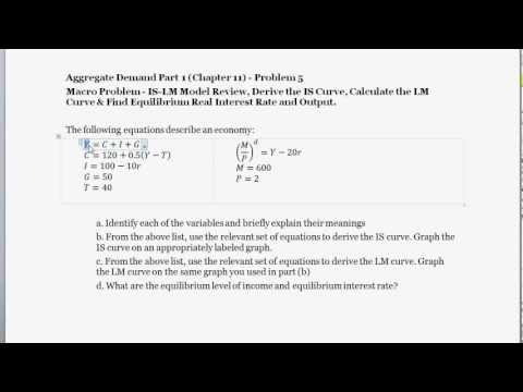 Macro Problem - Calculate the IS Curve & LM Curve Equations - Equilibrium Interest Rate & Output