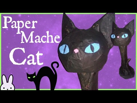 DIY: How To Make A Paper Mache Kitty Cat  Easy Halloween Decor  Tutorial