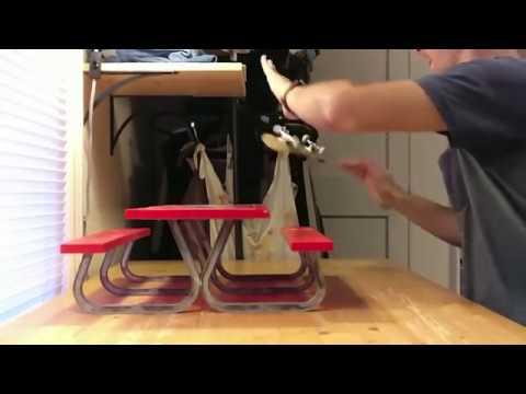 Handboarding on a Tech Deck Picnic table in slomo