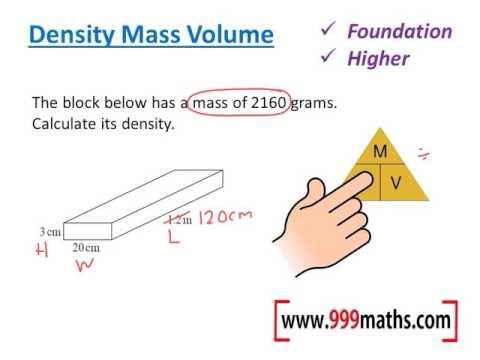 Density mass volume (new GCSE maths)
