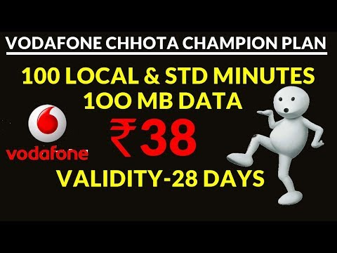 Vodafone Chhota Champion Plan of Rs  38 Offers 100 Local & STD Minutes, 100MB Data for 28 Days