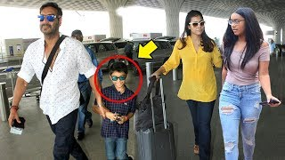 Ajay Devgn With Kajol & Children Son Yug & Daughter Nysa Spotted At Mumbai Airport
