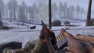 Very Dynamic Winter Combat from WW2 FPS Game Call of Duty United Offensive
