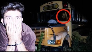 (I HEARD HER) I SPENT THE NIGHT IN A HAUNTED SCHOOL BUS | OVERNIGHT CHALLENGE AT THE FNAF SCHOOL BUS