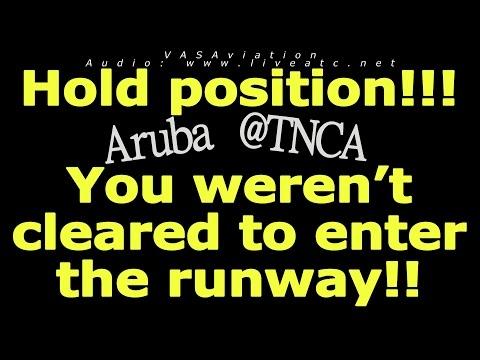 [REAL ATC] VERY CLOSE CALL on runway at Aruba TNCA