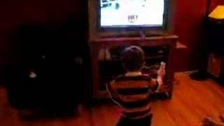 Owen boxing on the Wii
