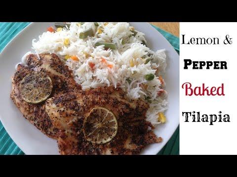 Lemon and Pepper Baked Tilapia fish * Nazkitchenfun*