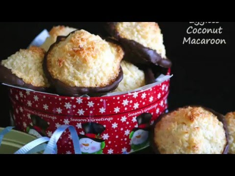 Chocolate Dipped Eggless Coconut Macaroons