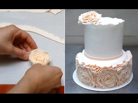 Simple Rose Ruffle Wedding CAKE - HOW TO by CakesStepbyStep