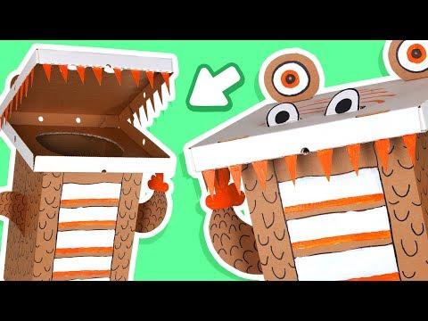 Cardboard Dinosaur Dustbin - Crafts Ideas With Boxes  | DIY on Box Yourself